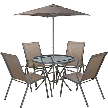 Image for Andorra Steel 4 Seater Garden Furniture Set - Bronze from StoreName