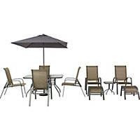 Andorra Metal 6 Seater Garden Furniture Set with Tea for Two