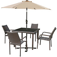 Bayfield Rattan Effect 4 Seater Garden Furniture Set with Parasol