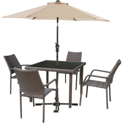 Bayfield Rattan Effect 4 Seater Garden Furniture Set with Parasol   Brown. Garden   patio furniture sets  chairs   benches at Homebase