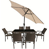 Bayfield Rattan Effect 6 Seater Garden Furniture Set with Parasol