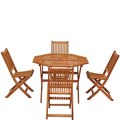 Image for Austin FSC Eucalyptus Wood 4 Seater Garden Furniture Set - Natural from StoreName