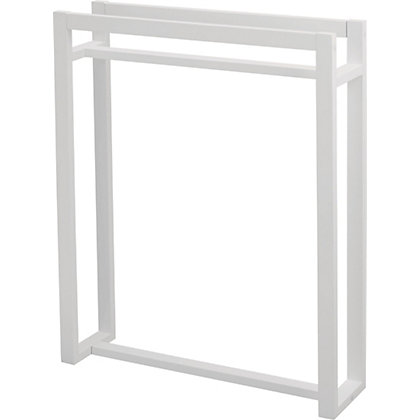 Image for White Wooden Square Towel Stand - White from StoreName