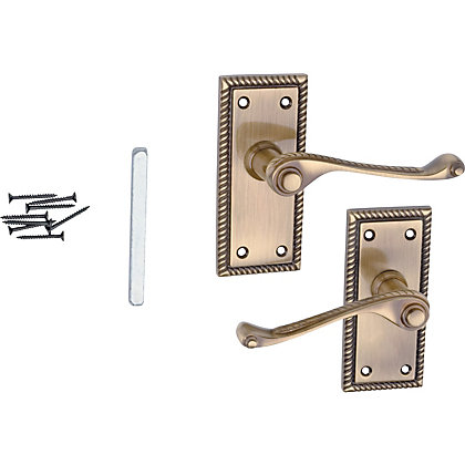 Image for Value Georgian Lever Latch Handle - Antique Brass from StoreName