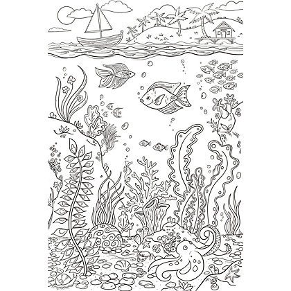Image for Fine Decor The Reef Colouring Wall Sticker from StoreName