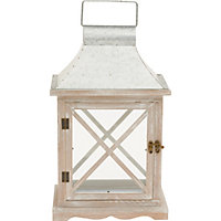 White Wash Wood Lantern - Medium