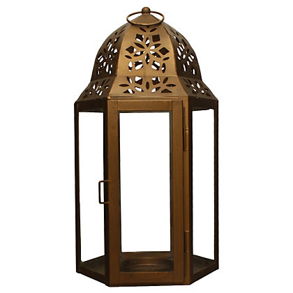 Image for Moroccan Iron Garden Lantern - Gold from StoreName