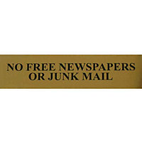 No Free Newspapers Or Junk Mail Sign - Black/Gold