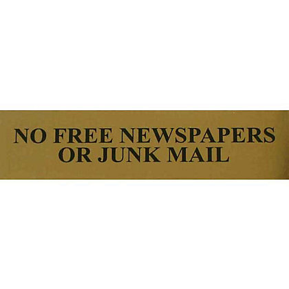 Image for No Free Newspapers Or Junk Mail Sign - Black/Gold from StoreName