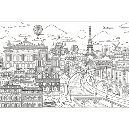 Image for Fine Decor Visite Paris Colouring Wall Sticker from StoreName