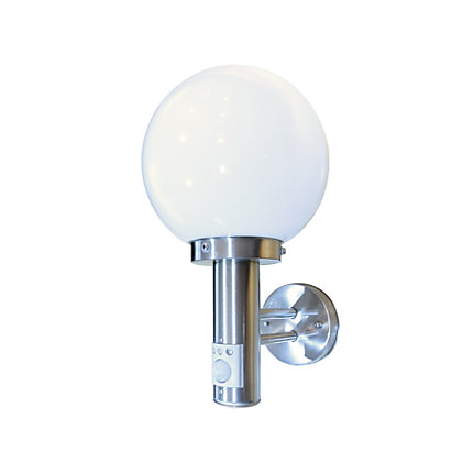 Image for 60W Stainless Steel Globe Lantern with PIR Security Light from StoreName