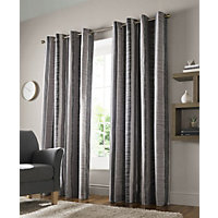 Echo Charcoal Eyelet Curtains 66x54in