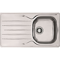 Mondella Compact Reversible Kitchen Sink - 1 Bowl - Silk Steel