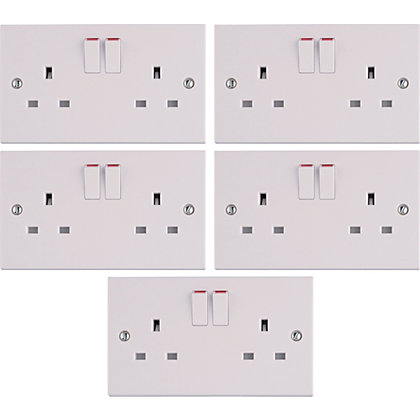 Image for Value 13 Amp 2 Gang Switched Socket - White - Pack Of 5 from StoreName