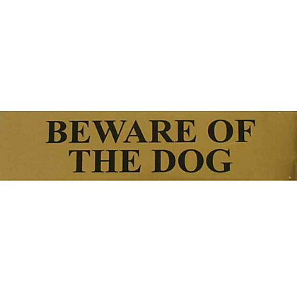 Image for Beware of The Dog Sign - Black/Gold from StoreName