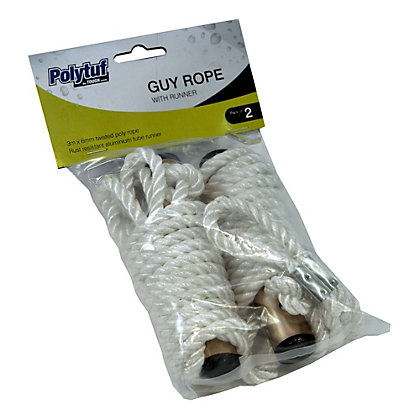 Image for Polytuf Guy Rope With Runners - 6mmx3m (Pack of 2) from StoreName
