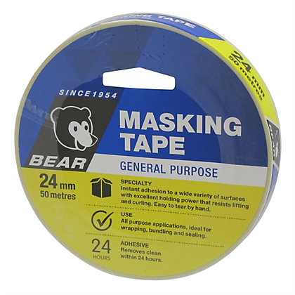 Image for Bear 24mm x 50m General Purpose Masking Tape from StoreName