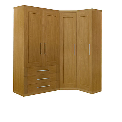 Schreiber Oak Corner Wardrobe Set With A Double Combi