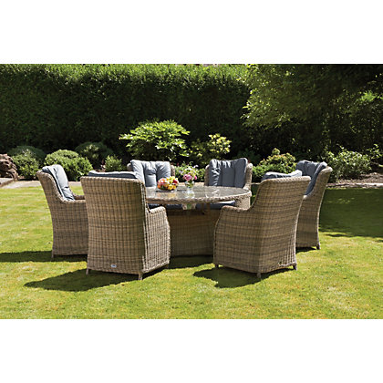 Milazzo 6 seater garden furniture set for Outdoor furniture homebase