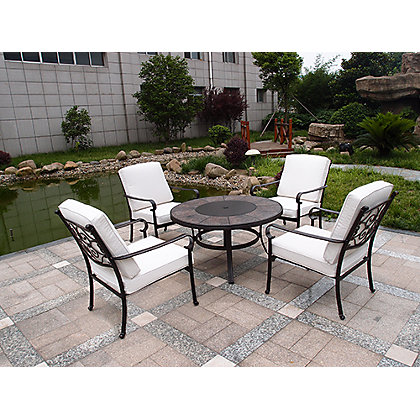Versailles 4 Seater Firepit Garden Furniture Set