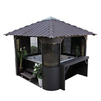 Canadian Spa Company Fraser Synthetic Coffee Gazebo - 10ft (Includes Free Delivery and Installation)