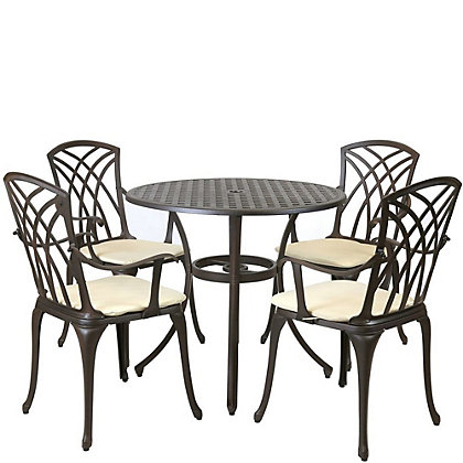Image for Charles Bentley Cast Aluminium Round Garden Furniture Set from StoreName