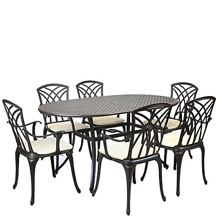 Image for Charles Bentley Cast Aluminium 6 Seater Garden Furniture Set - Black from StoreName
