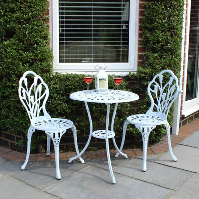 Image for Charles Bentley Cast Aluminium Tulip Garden Bistro Set - White from StoreName