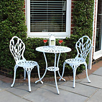 Charles Bentley Cast Aluminium Tulip Garden Bistro Set - White