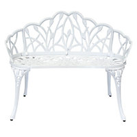 Charles Bentley White Cast Aluminium Tulip Bench
