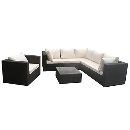 Image for Charles Bentley Brown Rattan Corner Garden Sofa Set from StoreName