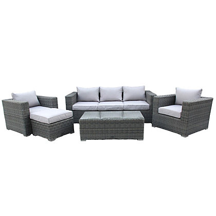 Image for Charles Bentley Grey Rattan Wicker Garden Sofa Set from StoreName