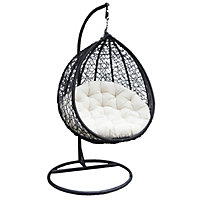 Charles Bentley Rattan Effect Hanging Swing Chair - Black