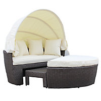 Charles Bentley Brown Rattan Day Bed Set With Canopy