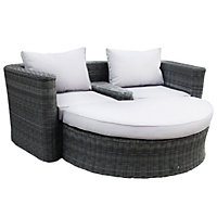 Charles Bentley Grey Rattan Effect Companion Set with Footstool