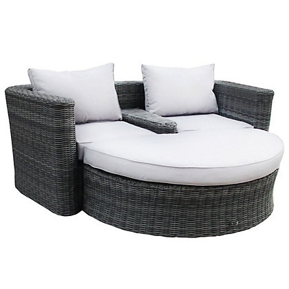 Image for Charles Bentley Grey Rattan Effect Companion Set with Footstool from StoreName