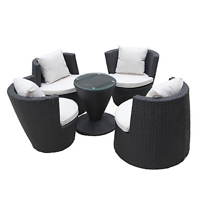 Image for Charles Bentley Black Rattan 5 Piece Stacking Furniture Set from StoreName