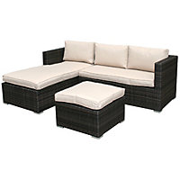 Charles Bentley Brown Rattan L Shaped Sofa Set