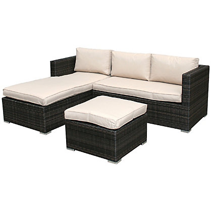 Image for Charles Bentley Brown Rattan L Shaped Sofa Set from StoreName
