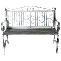Charles Bentley Wrought Iron Antique Grey Bench