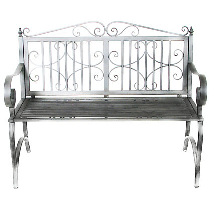 Image for Charles Bentley Wrought Iron Antique Grey Bench from StoreName