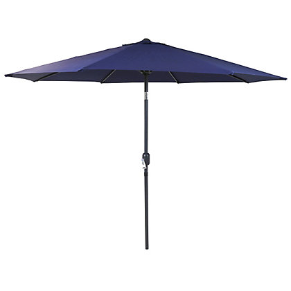Image for Charles Bentley Metal Parasol with Crank & Tilt in Blue - 2.7M from StoreName
