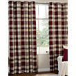 Highland Textured Check Lined Eyelet Curtains - Red 66 x 54in