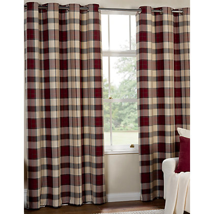 Image for Highland Textured Check Lined Eyelet Curtains - Red 66 x 54in from StoreName