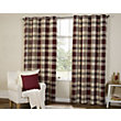 Highland Textured Check Lined Eyelet Curtains - Red 90 x 90in