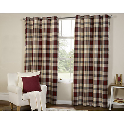 Image for Highland Textured Check Lined Eyelet Curtains - Red 90 x 90in from StoreName