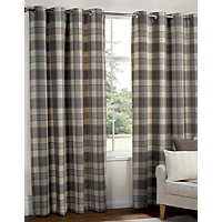Highland Textured Check Lined Eyelet Curtains Grey 66 X 54in