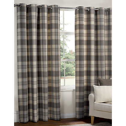 Image for Highland Textured Check Lined Eyelet Curtains - Grey 66 x 54in from StoreName