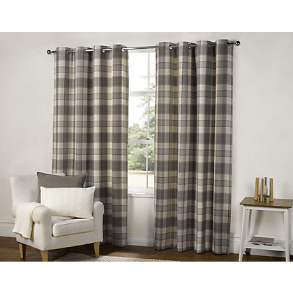 Image for Highland Textured Check Lined Eyelet Curtains - Grey 66 x 90in from StoreName