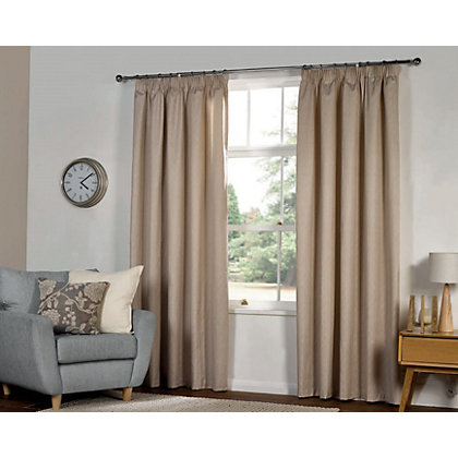 Image for Textured Thermal Pencil Pleat Curtains  - Natural 66 x 54in from StoreName